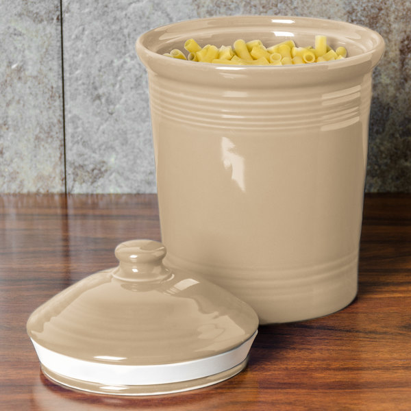 Homer Laughlin 573330 Fiesta Ivory Large 3 Qt. Canister with Cover - 2/Case