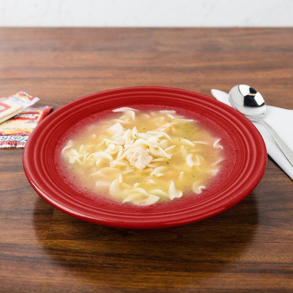 Homer Laughlin 451326 Fiesta Scarlet 13.25 oz. Rim Soup Bowl - 12/Case