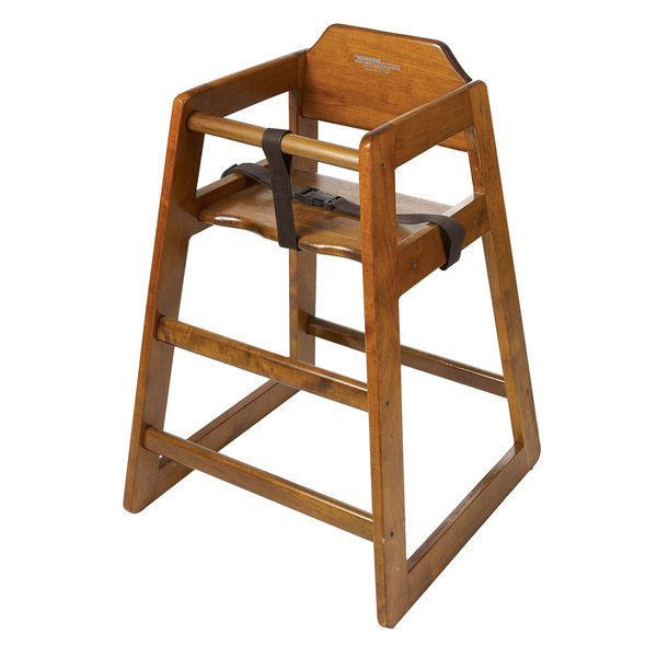 GET HC-100W-1 Stackable Hardwood High Chair with Walnut Finish - Assembled