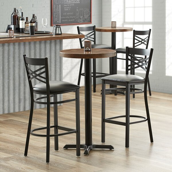 """Lancaster Table & Seating 24"""" Round Recycled Wood Butcher Block Table Top with Vintage Finish Main Image 3"""