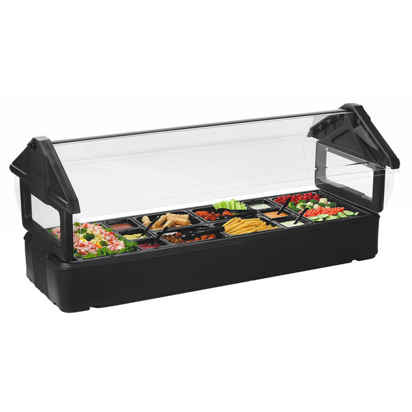 Carlisle 660103 Six Star Black 6u0027 Tabletop Food / Salad Bar With Sneeze  Guard