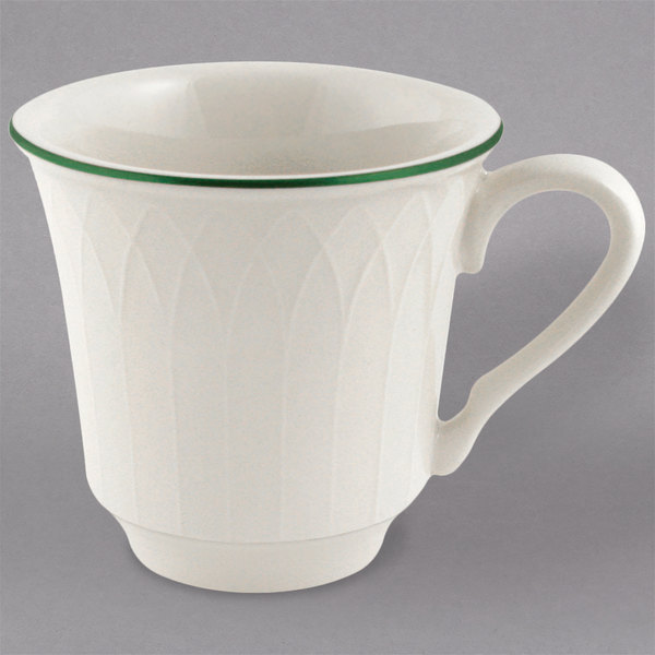 Homer Laughlin by Steelite International 1430-0331 Green Jade Gothic Off White 7.5 oz. China Cup - 36/Case Main Image 1