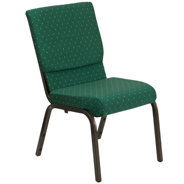 """Flash Furniture XU-CH-60096-GN-GG Green Dot Patterned 18 1/2"""" Wide Church Chair with Gold Vein Frame"""