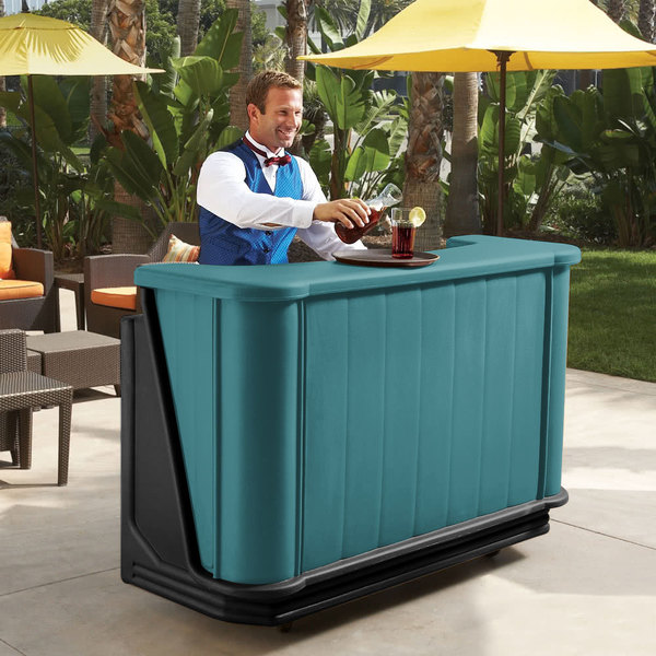 """Cambro BAR650PM421 Granite Green and Black Cambar 67"""" Portable Bar with 7-Bottle Speed Rail and Complete Post Mix System"""
