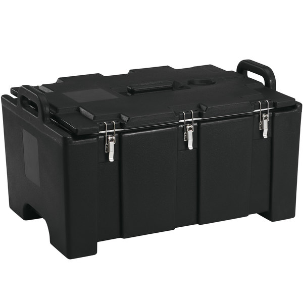 "Cambro 100MPC110 Camcarrier® 100 Series Black Top Loading 8"" Deep Insulated Food Pan Carrier Main Image 1"