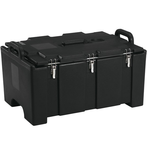 """Cambro 100MPC110 Camcarrier Black Top loading Pan Carrier with Handles for 12"""" x 20"""" Food Pans"""