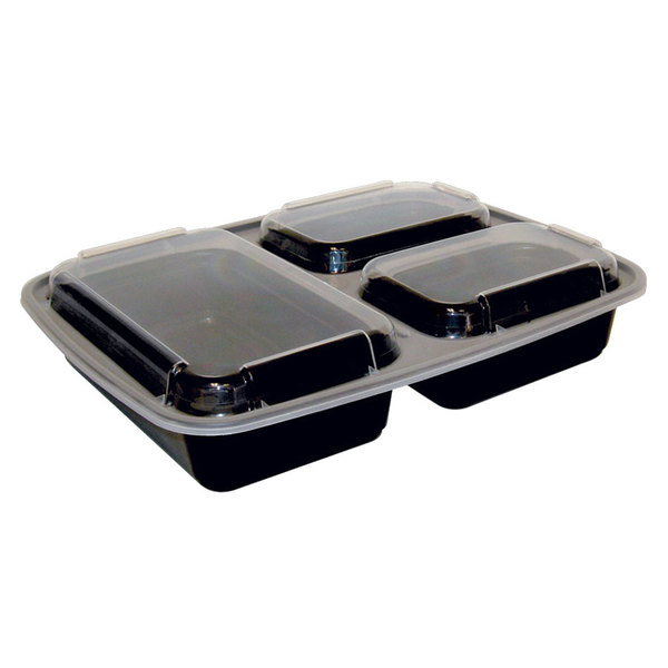 """Pactiv Newspring NC333B Black 32 oz. VERSAtainer 3 Compartment 7 1/2"""" x 9 7/8"""" x 1 3/4"""" Rectangular Microwavable Container with Lid - 150/Case"""