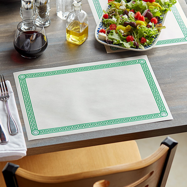 "10"" x 14"" Greek Key Green Placemat - 1000/Case Main Image 2"