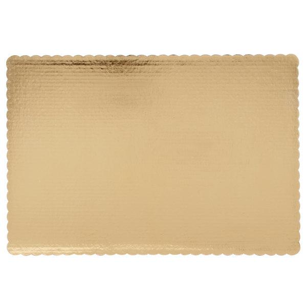 "25"" x 18"" Gold Laminated Rectangular Full Sheet Cake Pad - 10/Pack Main Image 1"