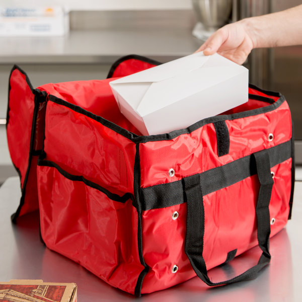 """American Metalcraft PBSB1512 15"""" x 9"""" x 12"""" Red Deluxe Insulated Nylon Sandwich Delivery Bag"""