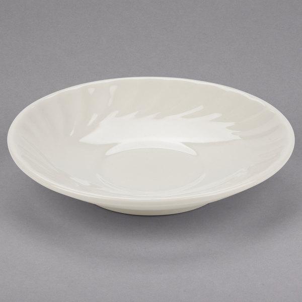 "Tuxton MEE-056 Meridian 5 3/4"" Ivory (American White) Swirl Rim China Saucer - 36/Case"