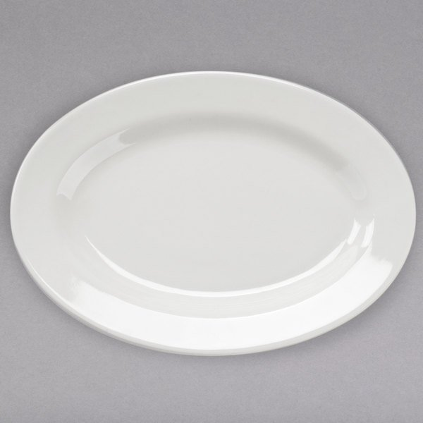 Core 12 1/2 inch x 8 7/8 inch Ivory (American White) Wide Rim Rolled Edge Oval China Platter - 12/Case