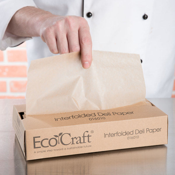 """Box of 500 Bagcraft Papercon 016010 10 3/4"""" x 10"""" EcoCraft Interfolded Dry Wax Deli Paper"""