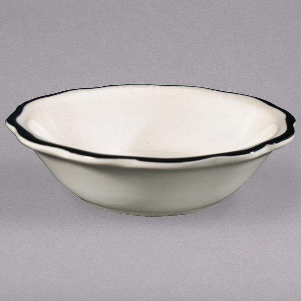 5 oz. Seville Ivory (American White) Scalloped Edge China Fruit / Monkey Dish with Black Band - 36/Case Main Image 1