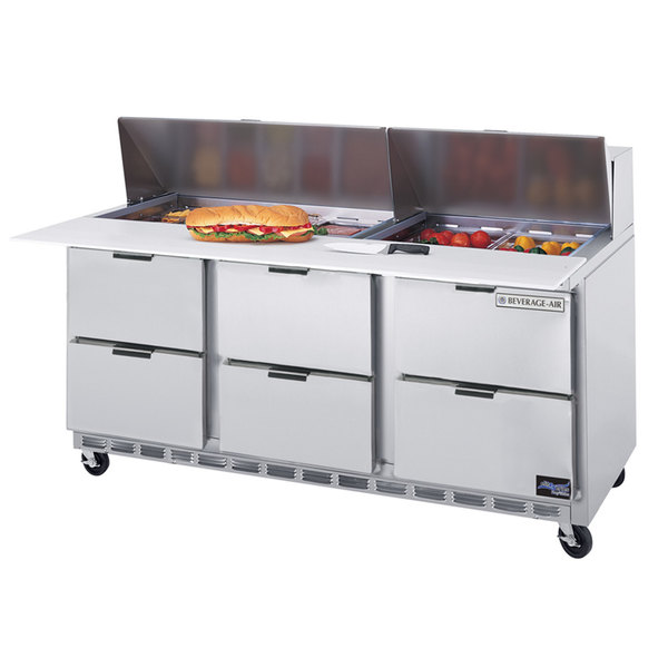 """Beverage Air SPED72-08C-6 72"""" 6 Drawer Cutting Top Refrigerated Sandwich Prep Table with 17"""" Wide Cutting Board"""