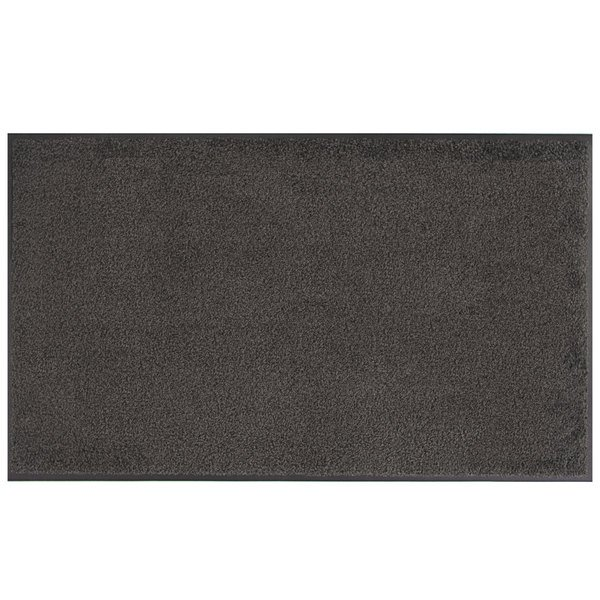 Lavex Janitorial 3' x 10' Gray Washable Nylon Rubber-Backed Indoor Entrance Mat Main Image 1