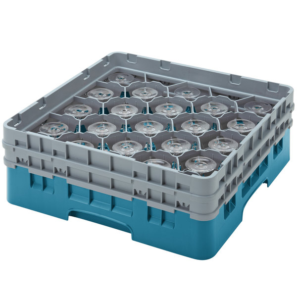 "Cambro 20S434414 Camrack 5 1/4"" High Customizable Teal 20 Compartment Glass Rack Main Image 1"