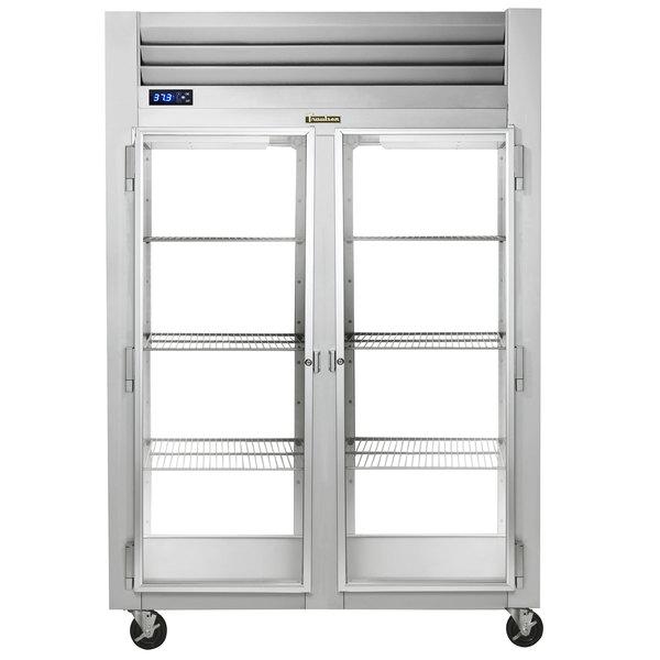 Traulsen G21014P 2 Section Glass Door Pass-Through Refrigerator - Left / Right Hinged Doors Main Image 1