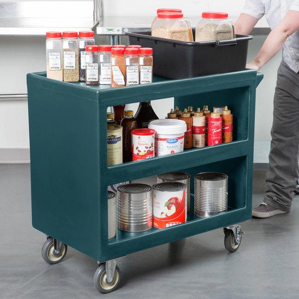 """Cambro BC235192 Granite Green Three Shelf Service Cart - 37 1/4"""" x 21 1/2"""" x 34 5/4"""""""