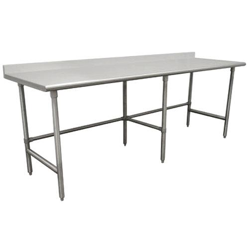 "Advance Tabco TSFG-2411 24"" x 132"" 16 Gauge Super Saver Commercial Work Table with 1 1/2"" Backsplash"