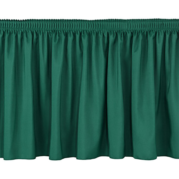 """National Public Seating SS16-48 Green Shirred Stage Skirt for 16"""" Stage - 15"""" x 48"""""""