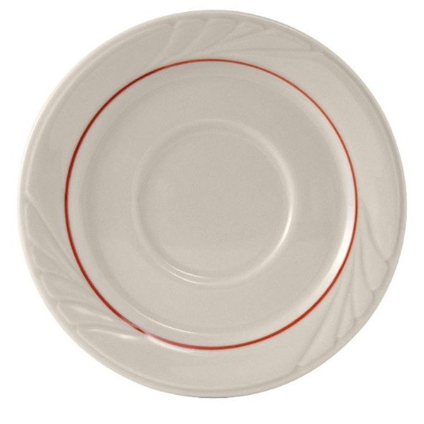 """Tuxton YBE-054 Monterey 5 1/2"""" China Saucer with Berry Band - 36/Case"""