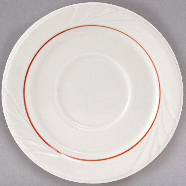 "Tuxton YBE-054 Monterey 5 1/2"" Eggshell China Saucer with Berry Band - 36/Case Main Image 1"