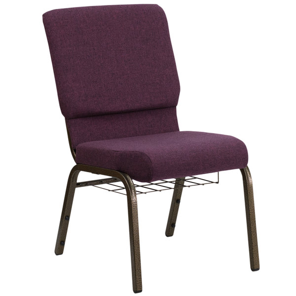 "Flash Furniture FD-CH02185-GV-005-BAS-GG Plum 18 1/2"" Wide Church Chair with Communion Cup Book Rack - Gold Vein Frame"