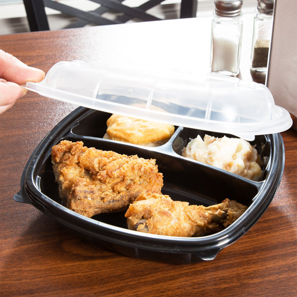 "9"" x 9"" x 3"" Medium 3 Compartment Microwaveable Plastic Hinged Take-Out Container - 112/Case"
