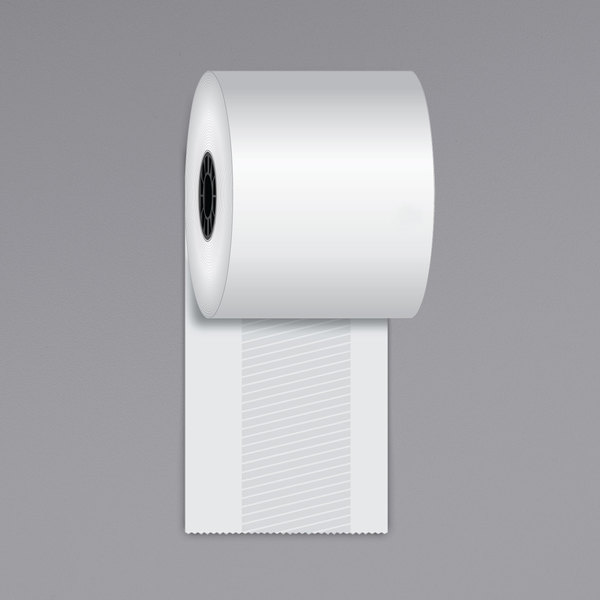 """Iconex 3 1/8"""" x 170' Full Tack Sticky Media Linerless Receipt Paper Roll - 12/Case Main Image 1"""