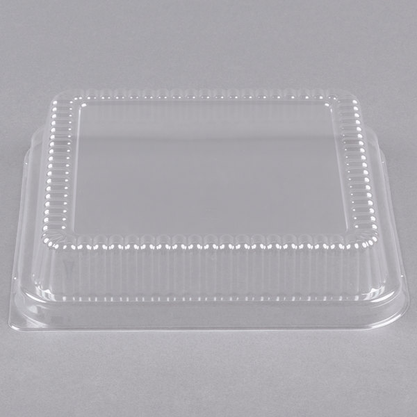 "Durable Packaging P1155-500 Clear Lid for 8"" Square Foil Cake Pan - 25/Pack"