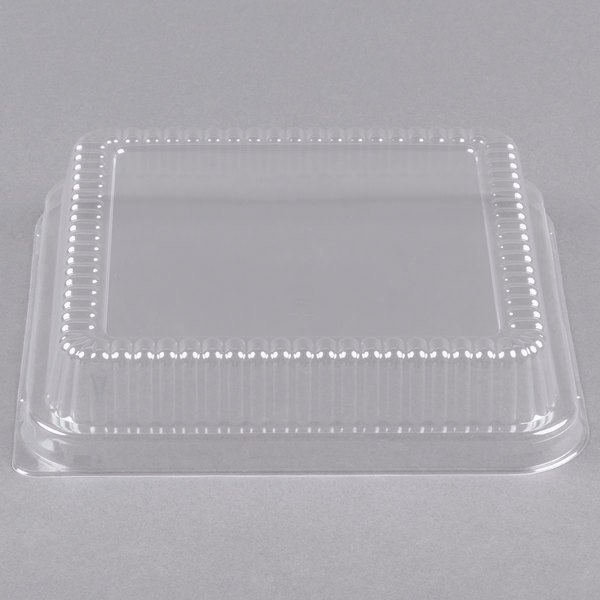 "Durable Packaging P1155-500 Clear Lid for 8"" Square Foil Cake Pan - 25/Pack Main Image 1"