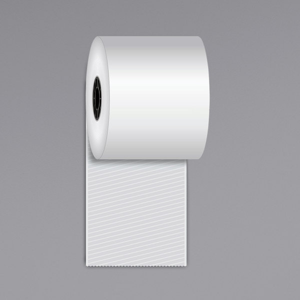 """Iconex 3 1/8"""" x 270' Full Tack Sticky Media Linerless Receipt Paper Roll - 12/Case Main Image 1"""