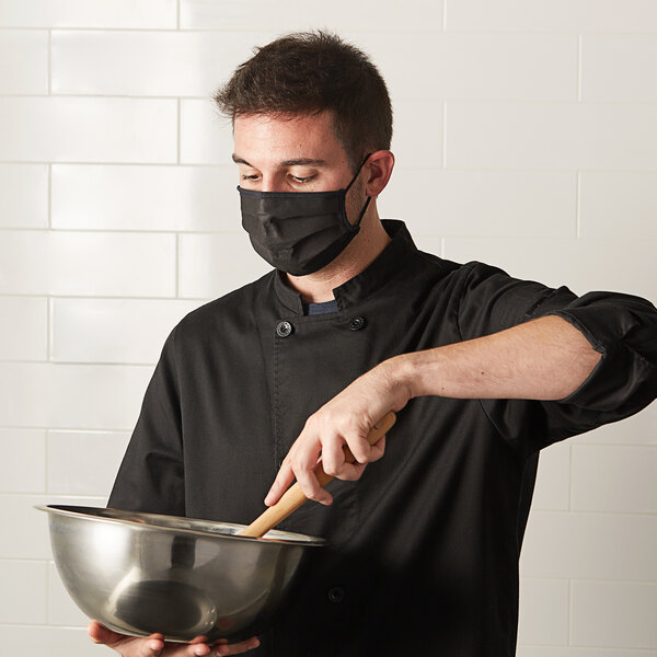 "Mercer Culinary M69011BK Customizable Black Reusable Non-Woven Polypropylene Pleated Protective Face Mask - 8 3/4"" x 3 3/8"" Main Image 3"