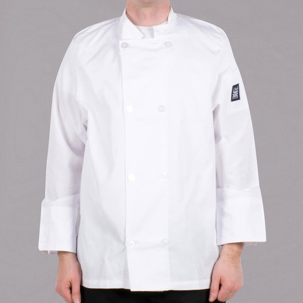 Chef Revival Bronze J049-XS Cool Crew Size 36 (S) White Customizable Long Sleeve Chef Jacket