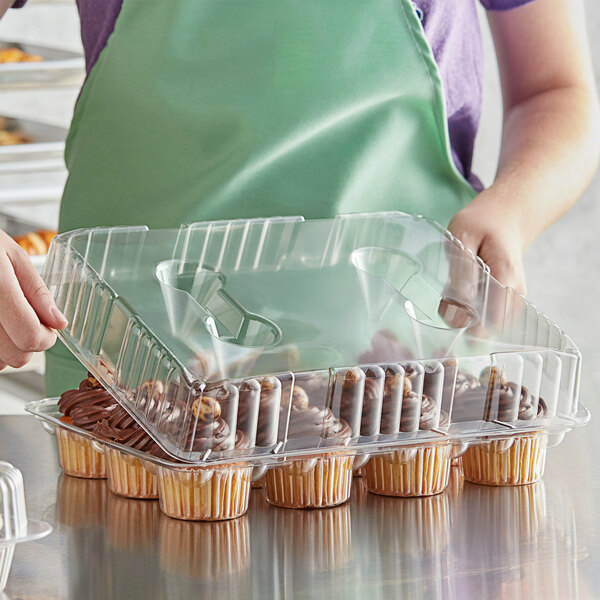 Choice 12-Cup Hinged OPS Plastic Cupcake / Muffin Container Main Image 2