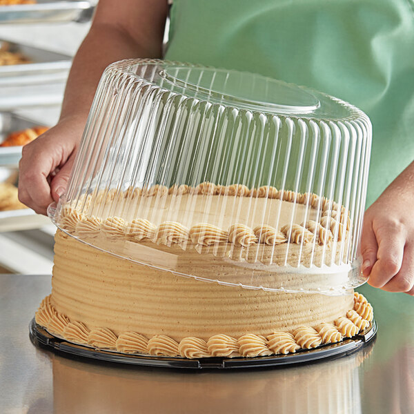 """Choice 10"""" High Dome Cake Display Container with Clear Dome Lid Main Image 2"""