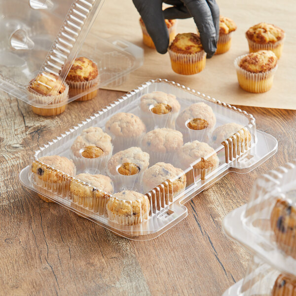 Choice 12-Compartment Clear OPS Hinged Mini Cupcake / Mini Muffin Container Main Image 2
