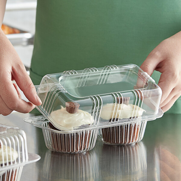 Choice 2-Compartment Clear OPS Plastic Cupcake / Muffin Container Main Image 2