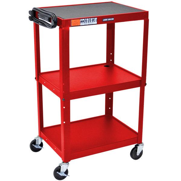 "Luxor AVJ42-RD Red 3 Shelf A/V Utility Cart 24"" x 18"" - Adjustable Height Main Image 1"