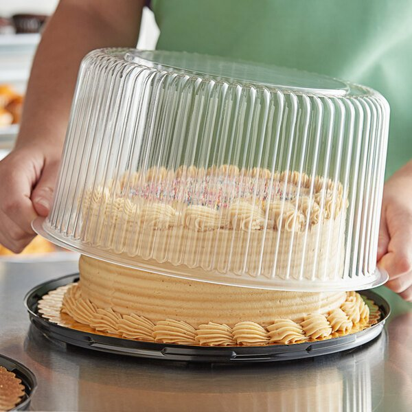 """Choice 8"""" High Dome Cake Display Container with Clear Dome Lid Main Image 2"""