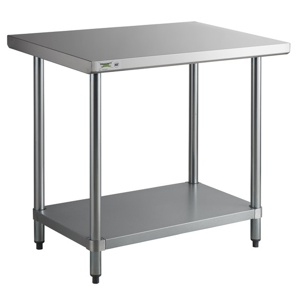"""Regency 24"""" x 36"""" 18-Gauge 304 Stainless Steel Commercial Work Table with Galvanized Legs and Undershelf"""
