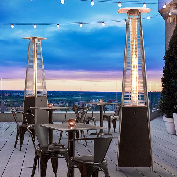 Backyard Pro Courtyard Series HPSQRBLK Black Portable Propane Outdoor Patio Heater with Glass Tube - 42,000 BTU Main Image 6