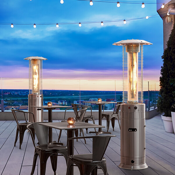 Backyard Pro RNDFHSS Stainless Steel Round Portable Propane Outdoor Patio Heater with Glass Tube - 46,000 BTU Main Image 6