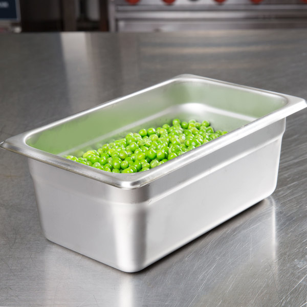 """Choice 1/4 Size Standard Weight Anti-Jam Stainless Steel Steam Table / Hotel Pan - 4"""" Deep"""