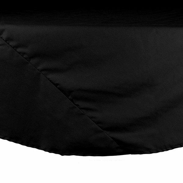 "132"" Round Black Hemmed Polyspun Cloth Table Cover"