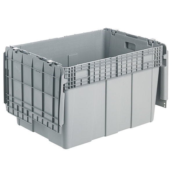 "Orbis FP60 30"" x 22"" x 20 1/2"" Stack-N-Nest Flipak Gray Tote Box with Hinged Lockable Lid Main Image 1"