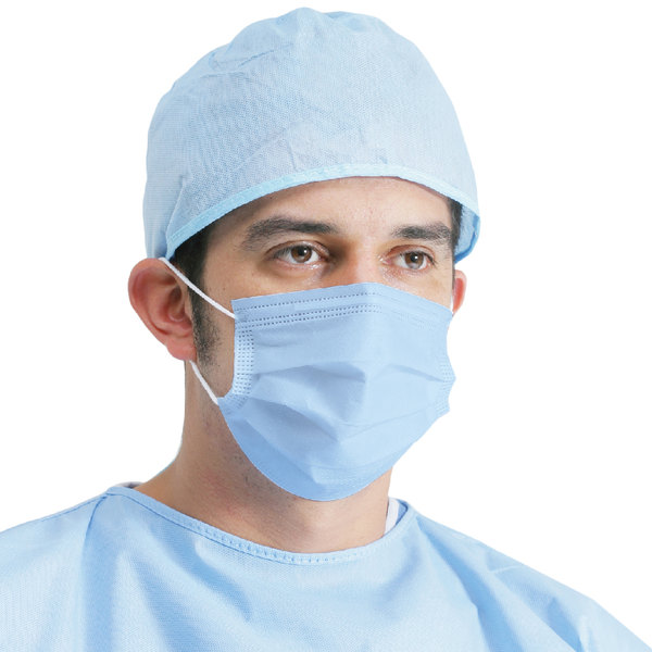 3-Ply Blue Disposable Non-Woven Polypropylene Protective Face Mask - 50/Box Main Image 1