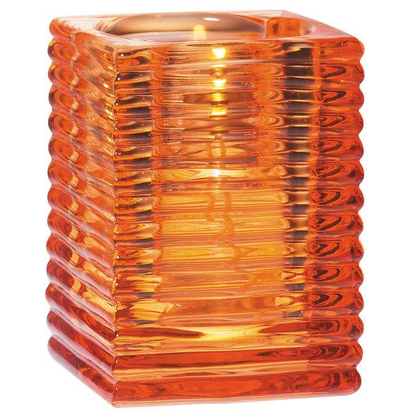 "Sterno 80146 4"" Orange Ribbed Kelly Square Liquid Candle Holder Main Image 1"