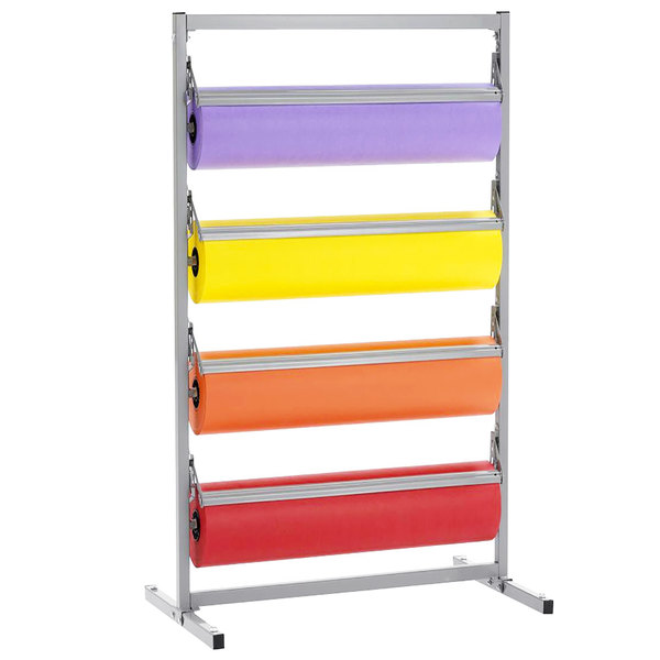 """Bulman T369R-24 24"""" Four Deck Tower Paper Rack with Straight Edge Blade"""